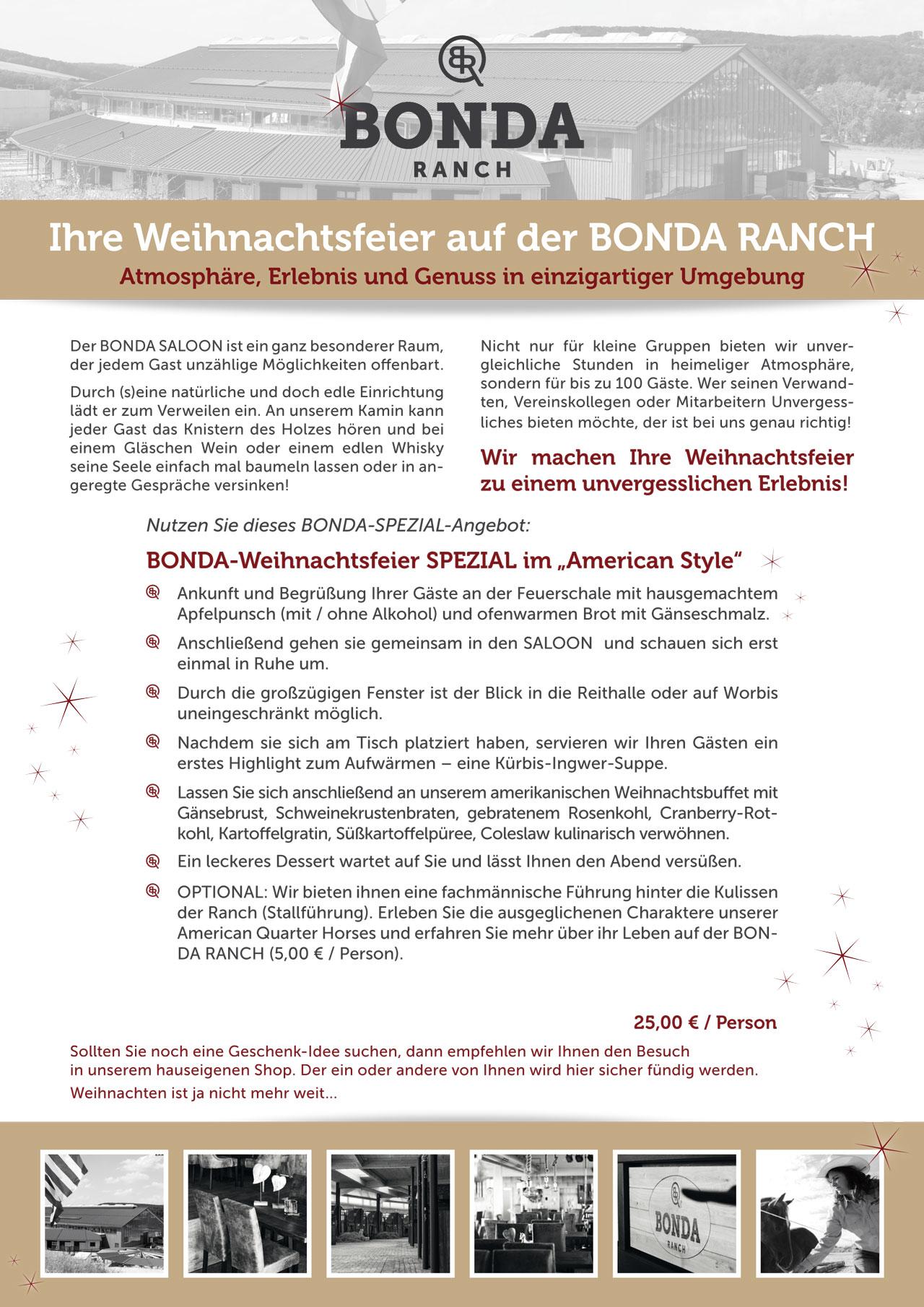 Angebot Weihnachtsfeier.Ihre Weihnachtsfeier Auf Der Bonda Ranch Bonda Saloon